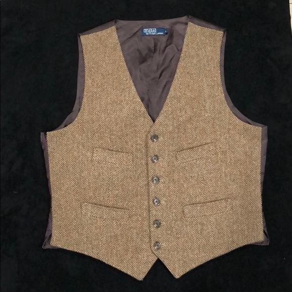 Vintage Ralph Lauren wool tweded men's waistcoat